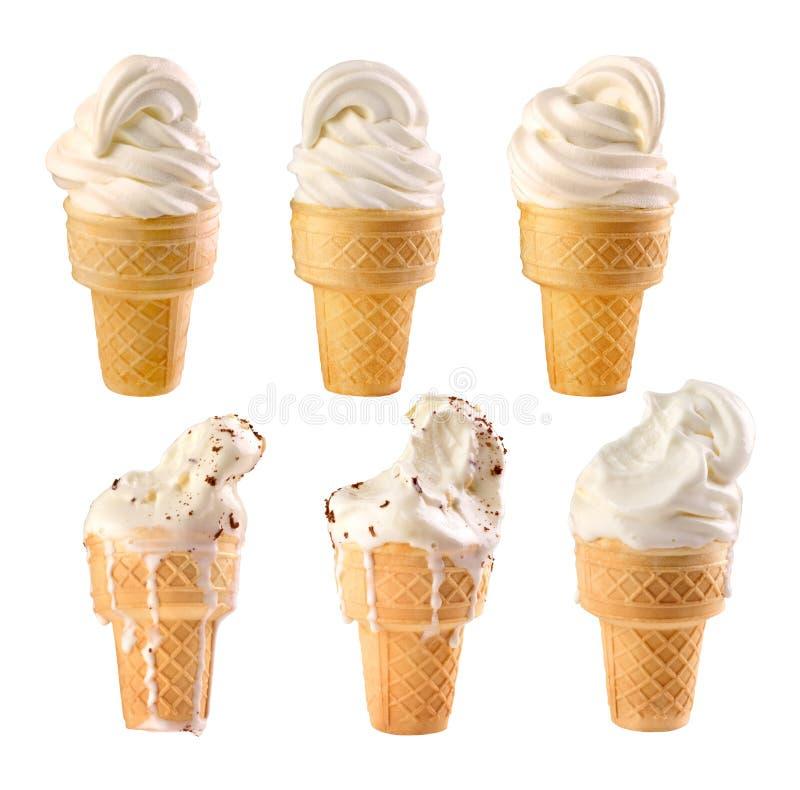 Placez de la glace à la vanille sur un fond blanc images stock