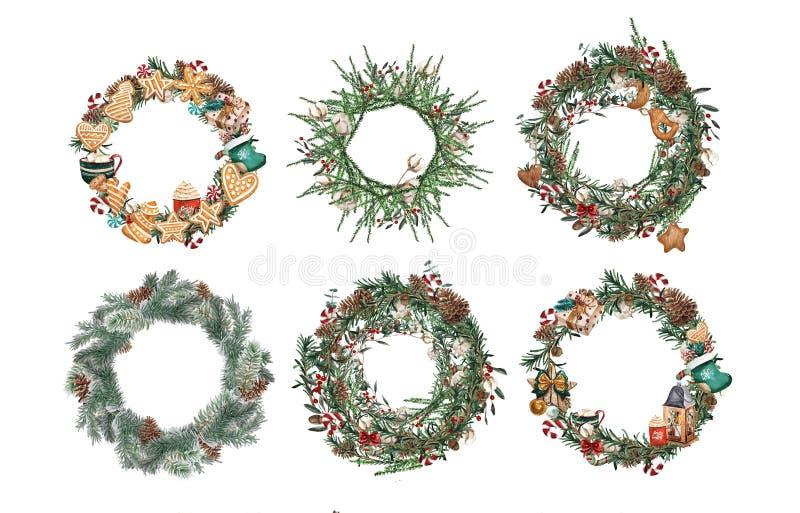 Placez de la guirlande avec des branches de pin et des baies, coton et des cônes rouges de pin Cadre rond pour les cartes de Noël illustration stock
