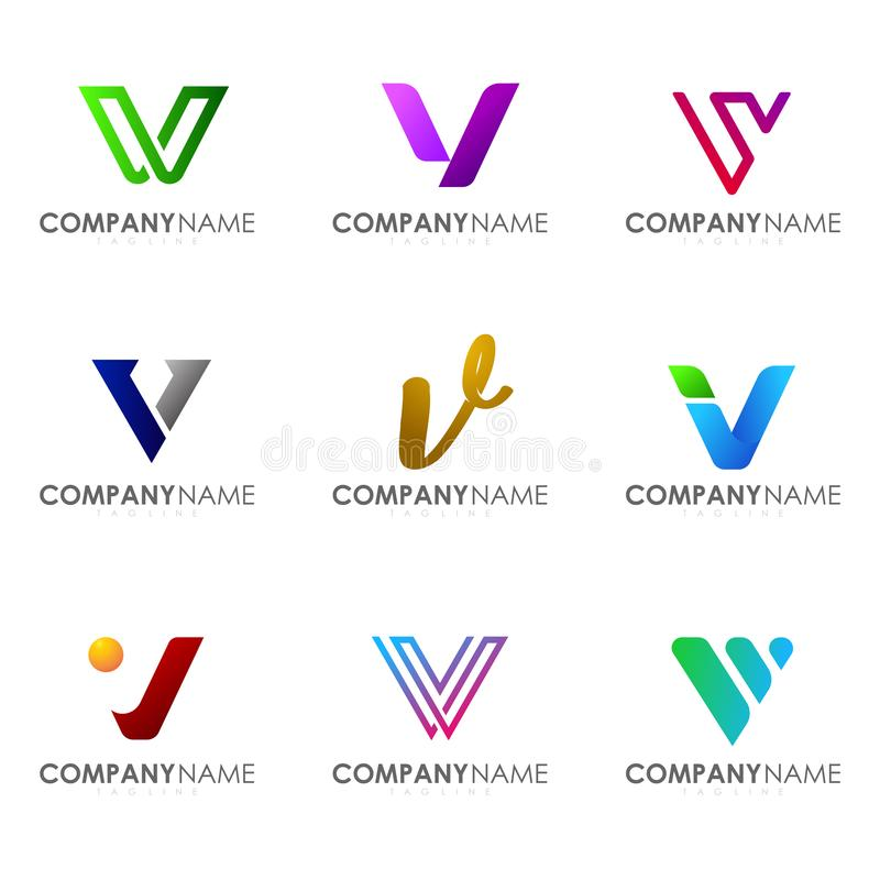 Placez de la lettre moderne V de conception de logo d'alphabet illustration stock