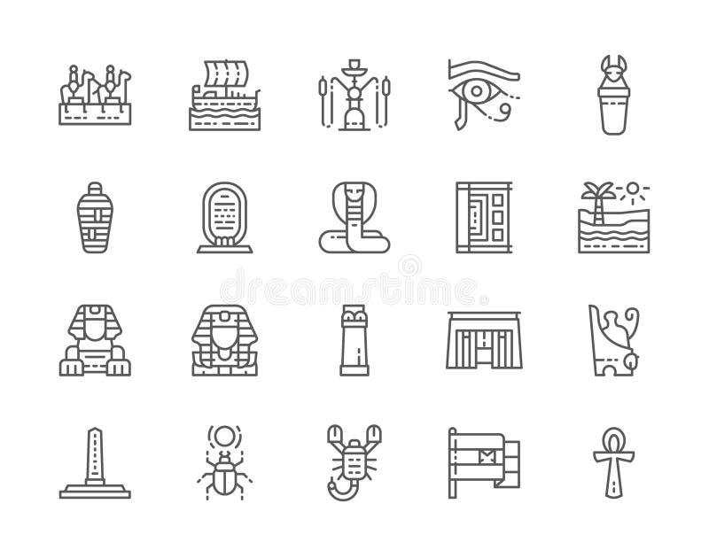 Placez de la ligne égyptienne icônes de culture Caravane, narguilé, maman, scorpion et plus illustration libre de droits