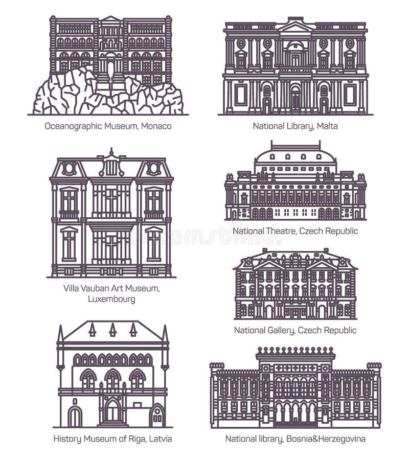 Placez de la ligne bâtiments européens célèbres de culture illustration libre de droits