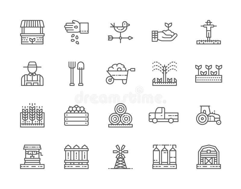 Placez de la ligne icônes de ferme et d'agriculture Agriculteur, tracteur, roue et plus illustration stock