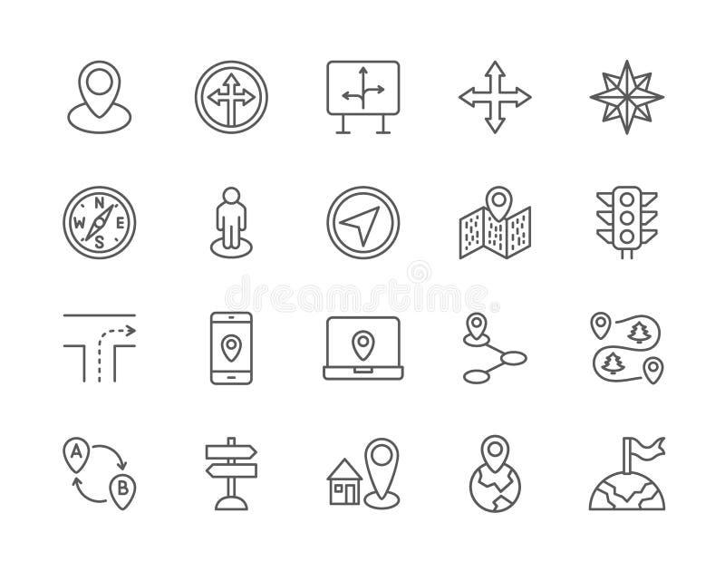 Placez de la ligne icônes de navigation Boussole, Pin d'emplacement, navigation de GPS et plus illustration de vecteur
