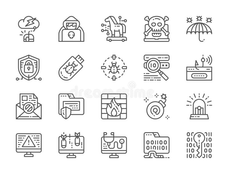 Placez de la ligne icônes de sécurité de Cyber Agent d'espion, Trojan Horse, cryptographie et plus illustration stock