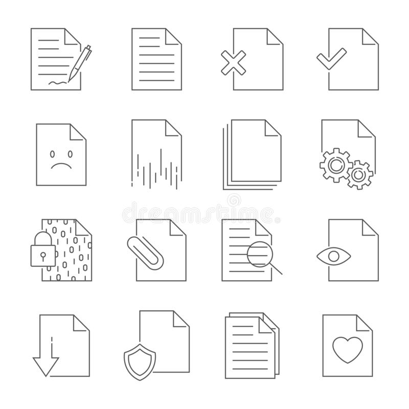 Placez de la ligne ic?nes de vecteur de gestion de flux des documents Course Editable illustration stock