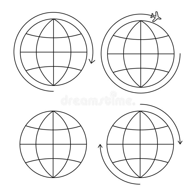 Placez de la ligne mince de quatre icônes de la terre illustration libre de droits
