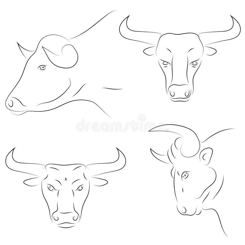 Placez de la ligne noire têtes de taureau sur le fond blanc Dessin v de main illustration de vecteur