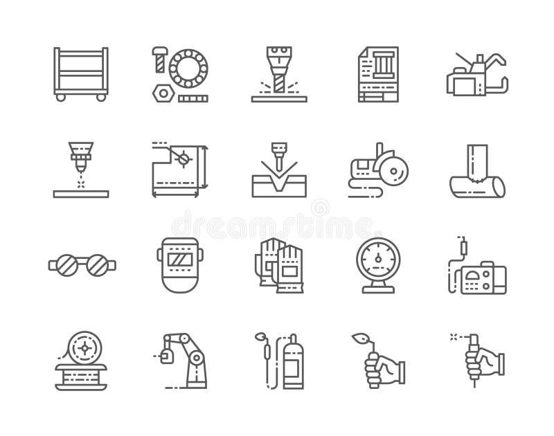 Placez de la ligne de soudure icônes Machine de tache, joints, boulons, chalumeau et plus illustration de vecteur