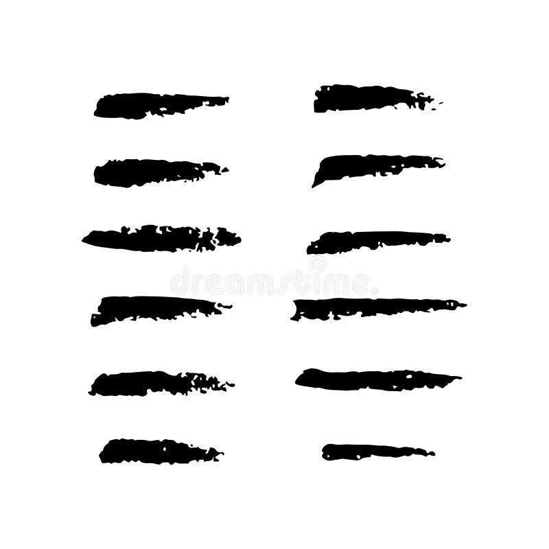 Placez de la main a ouvré les brosses faites sur commande de charbon de bois, collection d'éléments tirés par la main illustration stock