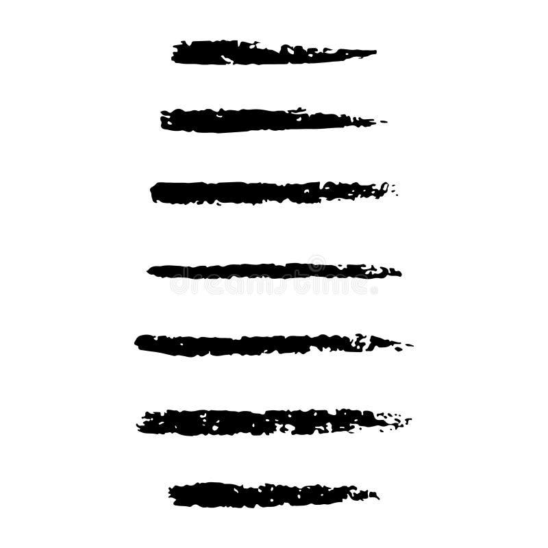 Placez de la main a ouvré les brosses faites sur commande de charbon de bois, collection d'éléments tirés par la main illustration libre de droits