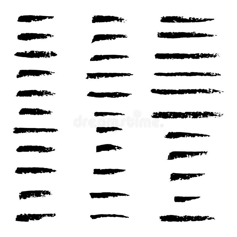Placez de la main a ouvré les brosses faites sur commande de charbon de bois, collection d'éléments tirés par la main de vecteur illustration stock
