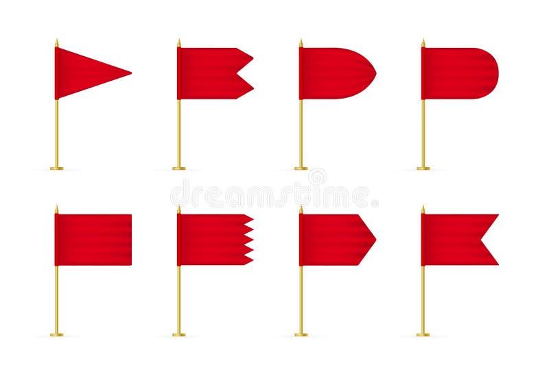 Placez de la maquette rouge du drapeau 3d de vecteur illustration stock
