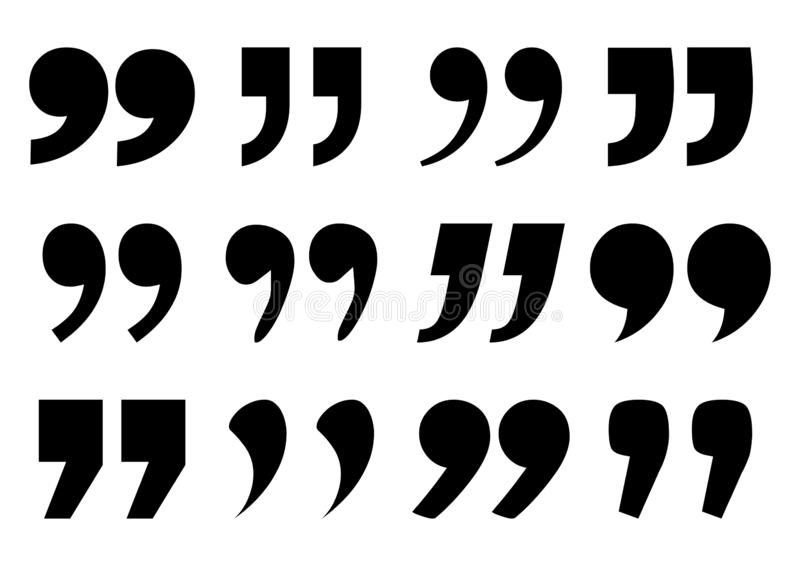 Placez de la marque de citation, signe noir Illustration de vecteur illustration stock