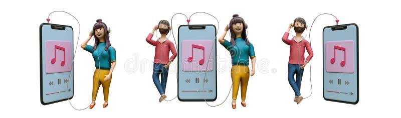 Placez de la musique de écoute de garçon et de fille du smartphone illustration stock