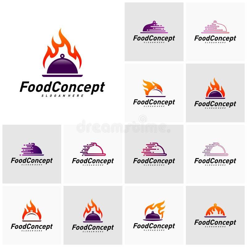 Placez de la nourriture chaude Logo Concept Vector Vecteur ? cuire rapide de calibre de conception de logo Symbole d'ic?ne illustration libre de droits
