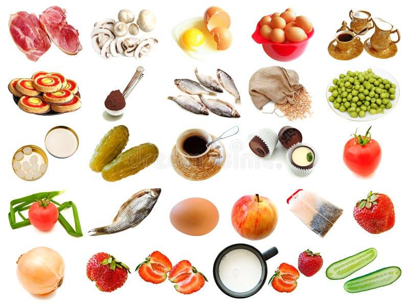 Placez de la nourriture différente et buvez des éléments photographie stock libre de droits