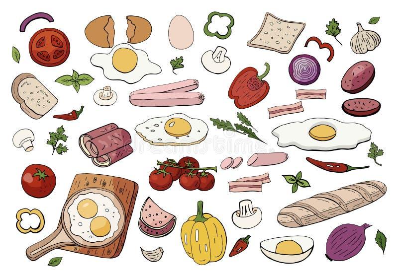 Placez de la nourriture différente pour le petit déjeuner de matin a brouillé des oeufs et des légumes illustration de vecteur