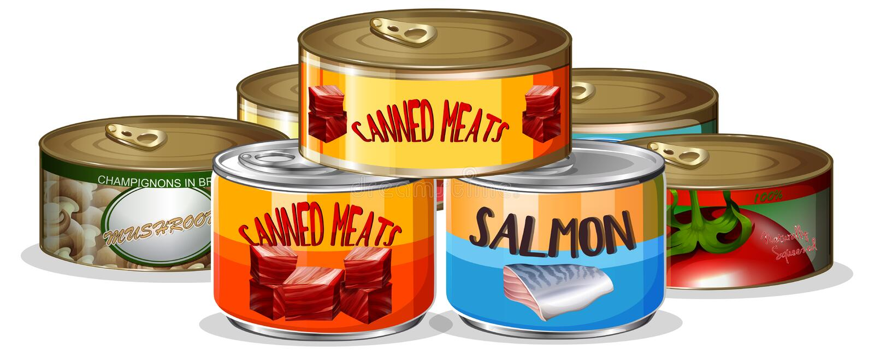 Placez de la nourriture en boîte illustration stock