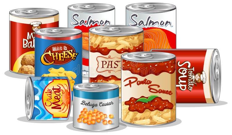 Placez de la nourriture en boîte illustration de vecteur