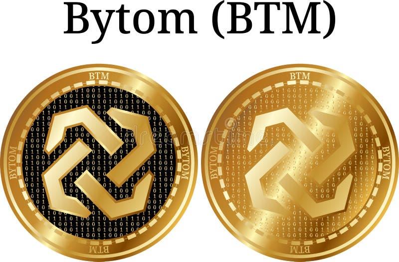 Placez de la pièce de monnaie d'or physique Bytom (BTM), cryptocurrency numérique Ensemble d'icône de Bytom (BTM) illustration libre de droits