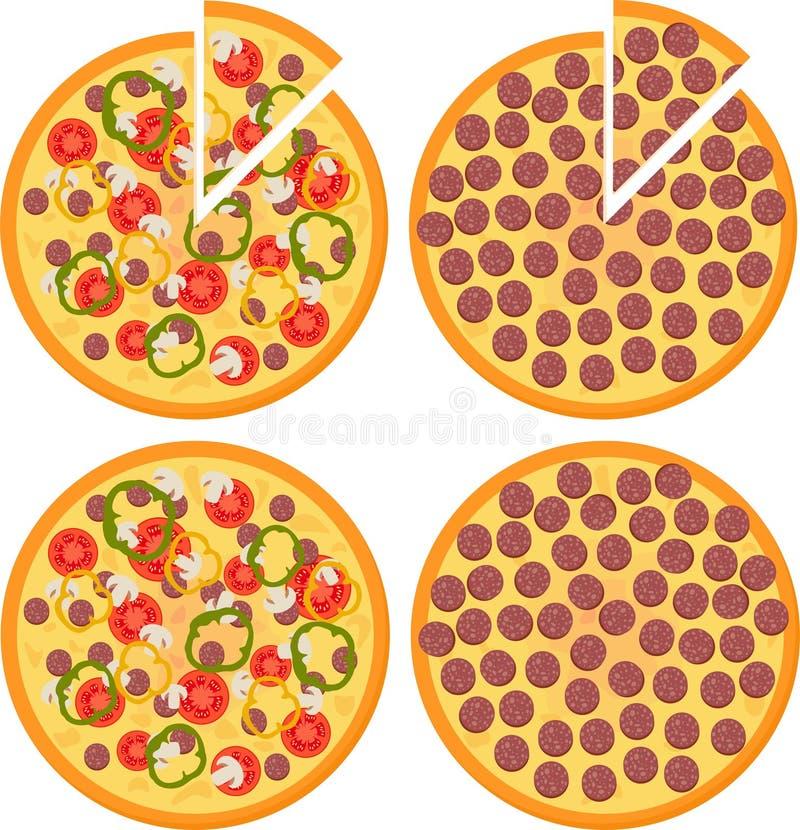 Placez de la pizza fraîche avec les tomates, le fromage, les champignons et la pizza de pepperoni, vue supérieure Illustration de illustration de vecteur