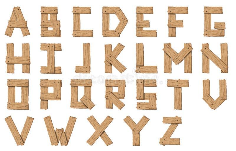 Placez de la police abstraite en bois et de l'alphabet de vecteur illustration libre de droits