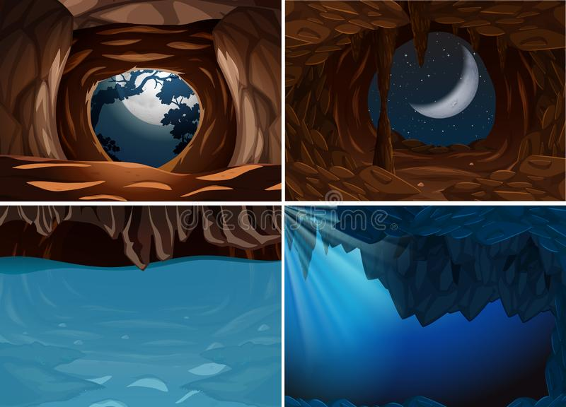Placez de la scène intérieure de caverne illustration stock