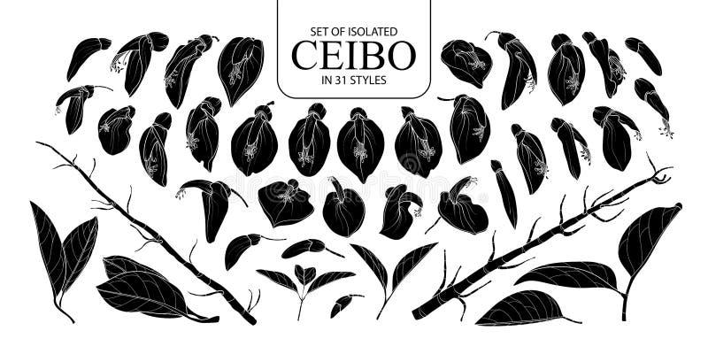 Placez de la silhouette d'isolement Ceibo dans 31 styles images stock