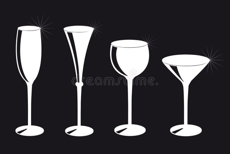 Placez de la silhouette différente de verres à boire sur le fond noir illustration stock