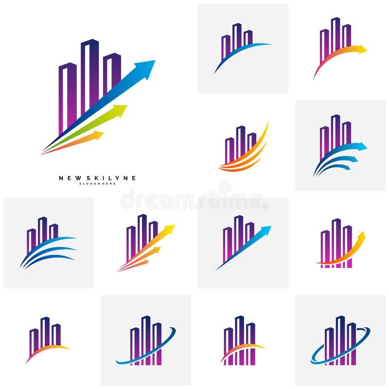 Placez de la ville moderne Logo Concepts Calibre de vecteur de conception de logo de finances d'entreprise constituée en société  illustration de vecteur