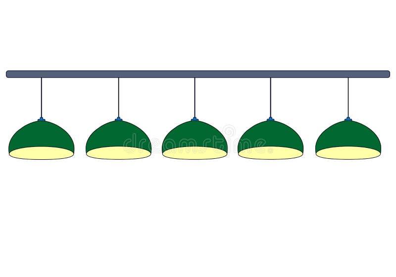 Placez de 5 lampes vertes de billard avec la lumière jaune Vert de rangée accrochant 4 lampes pour allumer la table de billard D' illustration stock