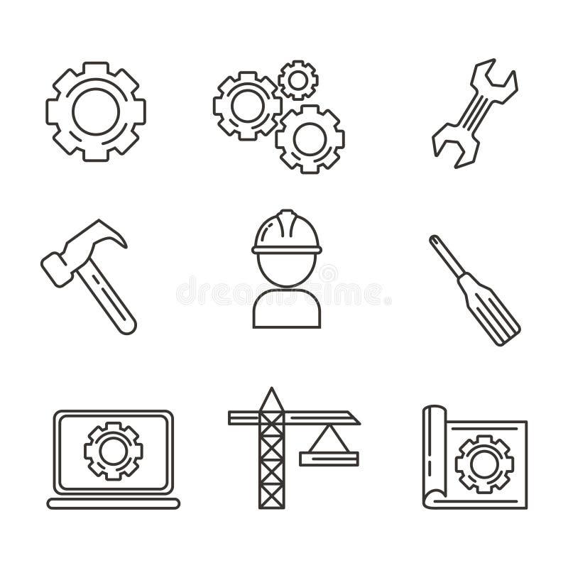 Placez de machiner l'ic?ne avec la conception d'ensemble Illustration de vecteur d'ing?nierie illustration stock