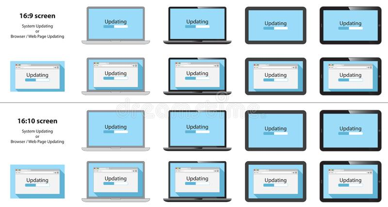 Placez de mettre à jour le processus sur la fenêtre du navigateur, écran de carnet, tablette illustration de vecteur