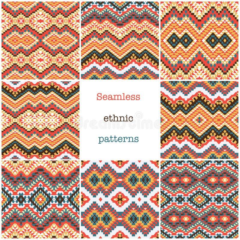 Placez de 8 modèles géométriques ethniques illustration libre de droits