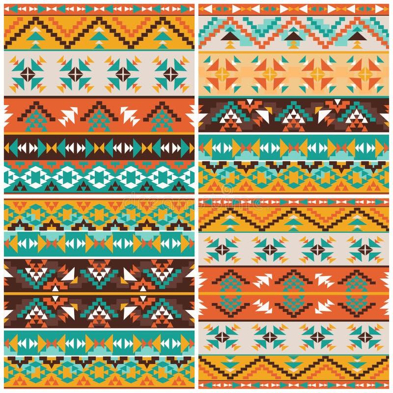 Placez de 4 modèles géométriques ethniques illustration de vecteur