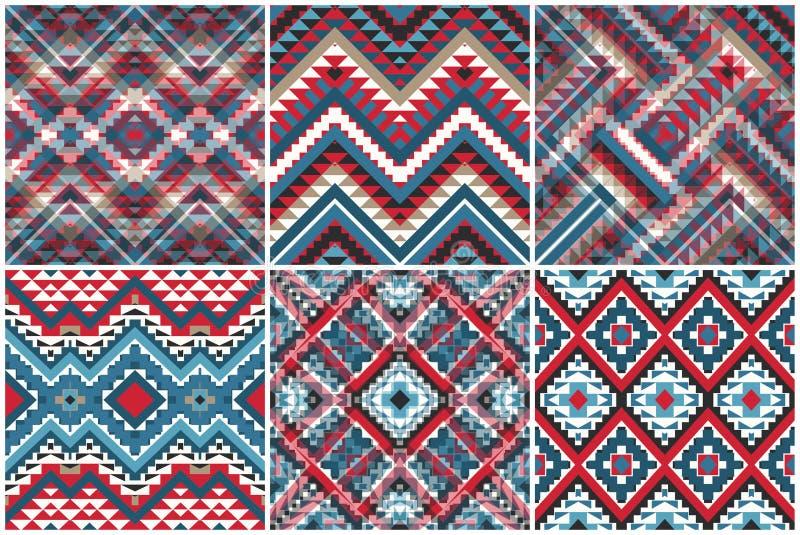 Placez de 6 modèles géométriques ethniques illustration stock