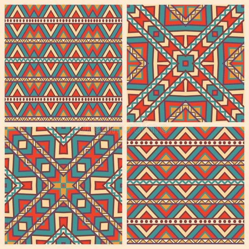 Placez de 4 modèles géométriques ethniques illustration stock