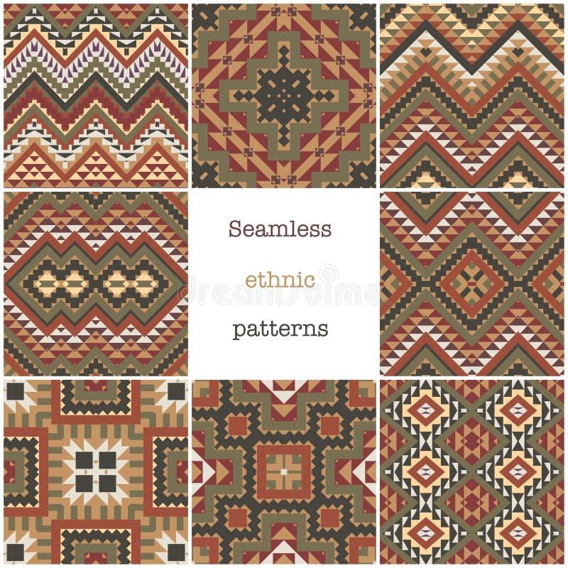 Placez de 8 modèles géométriques ethniques illustration stock