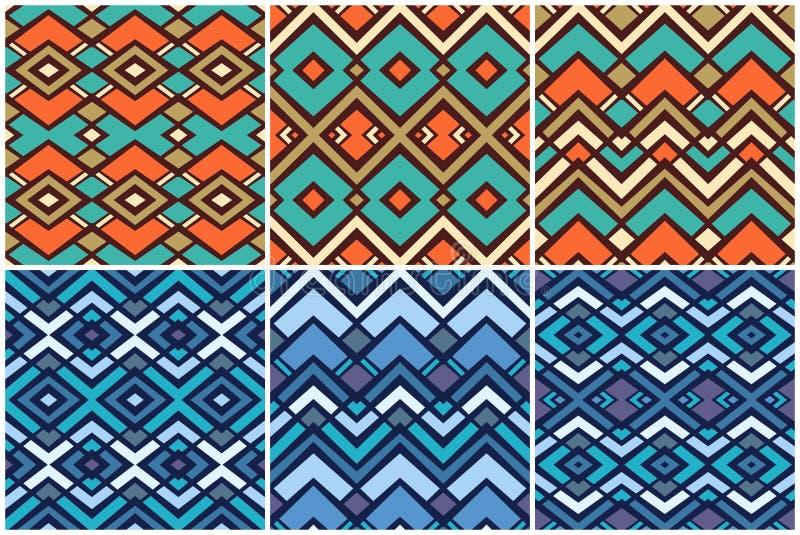 Placez de 6 modèles géométriques ethniques illustration de vecteur