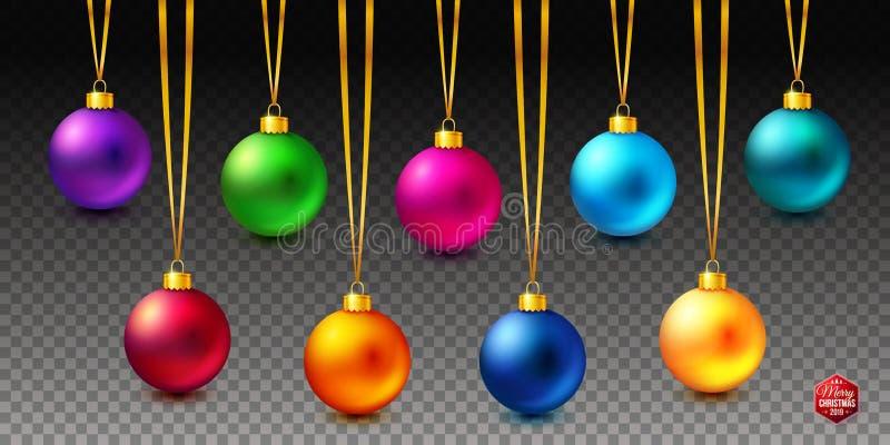 Placez de neuf les boules colorées brillantes, lumineuses et réalistes de Noël accrochant sur le fond transparent illustration stock