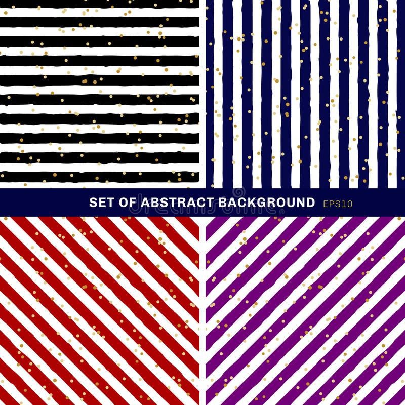 Placez de noir abstrait, bleu, rouge, pourpre, blanc barré sur le fond à la mode avec le modèle de points aléatoire de feuille d' illustration stock
