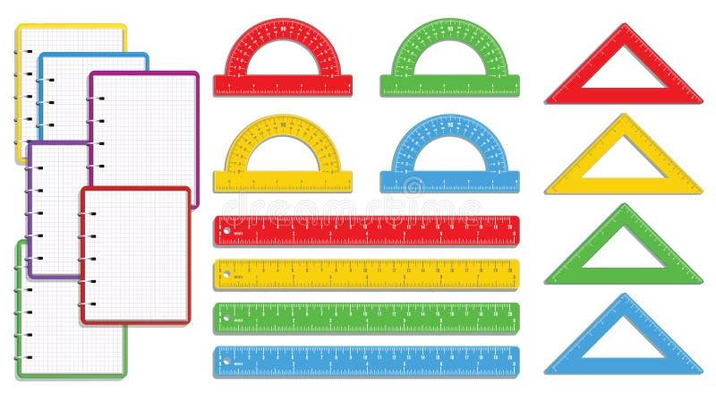 Placez de nouveau aux fournitures scolaires avec le carnet de notes à spirale ou le bloc-notes coloré réaliste, crayons de couleu illustration libre de droits