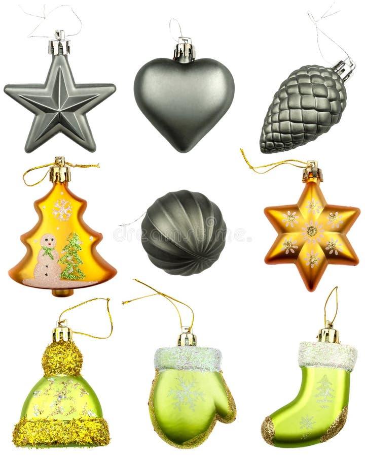 Placez de 9 ornements d'arbre de Noël d'isolement sur le fond blanc photos stock