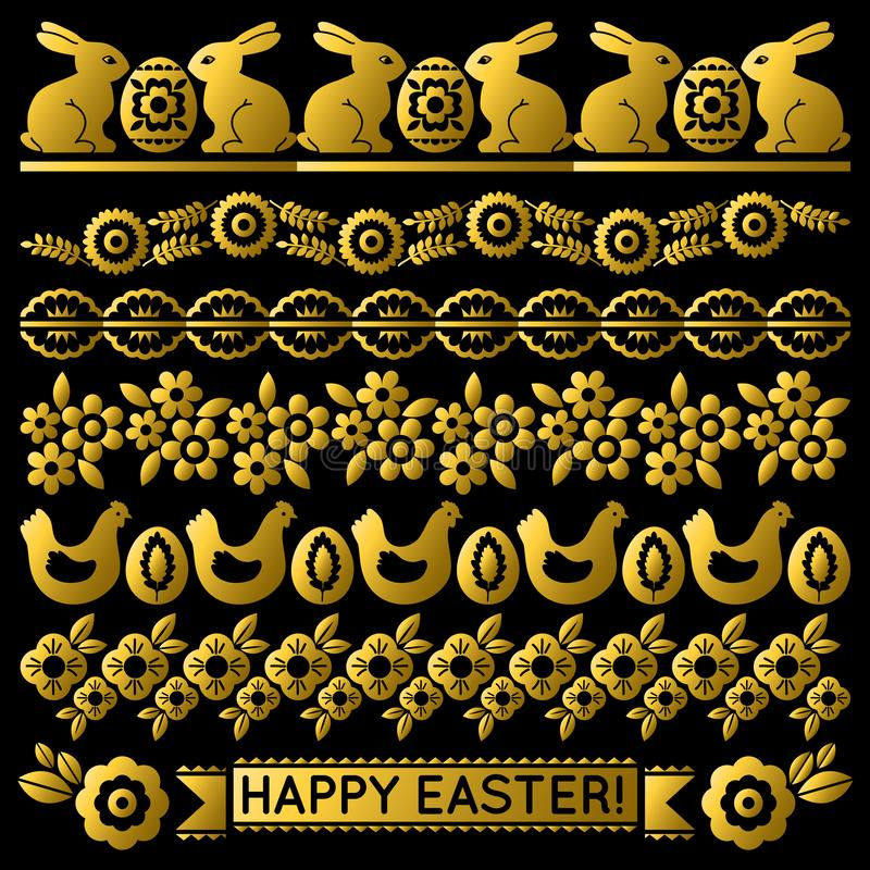Placez de Pâques d'or lacent le papier avec la fleur, les lapins, la poule et les oeufs Les vacances qu'on peut répéter de Pâques illustration libre de droits