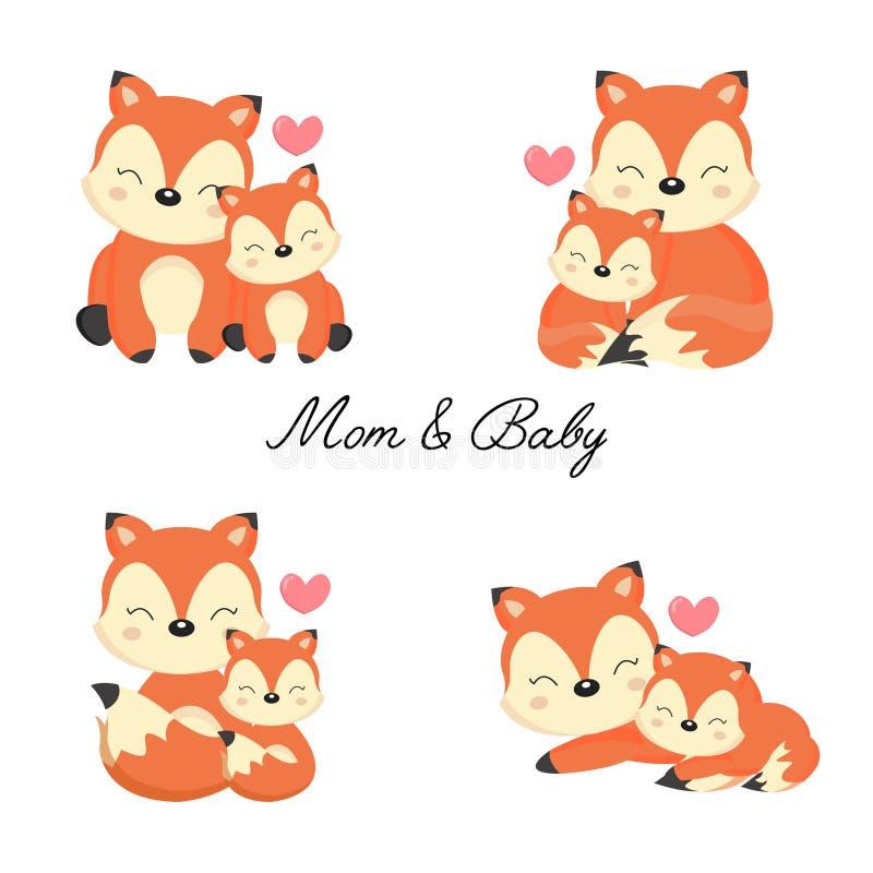 Placez de peu de renard et mère illustration de vecteur