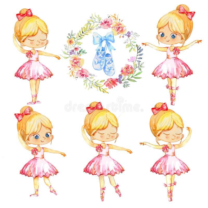 Placez de princesse blonde Character Dancer Girl de ballerine Filles mignonnes d'enfant portant la formation rose de costume de t illustration stock