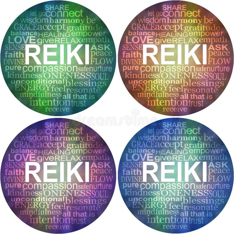 Placez de quatre caboteurs curatifs d'impression de mot de reiki prêt 30cm circulaire de nuage illustration de vecteur