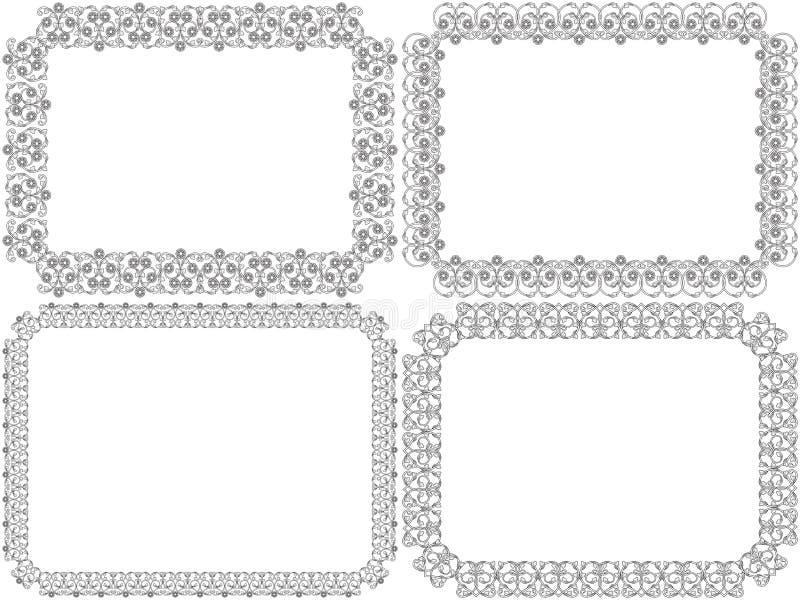 Placez de quatre cadres décoratifs de fleur illustration stock