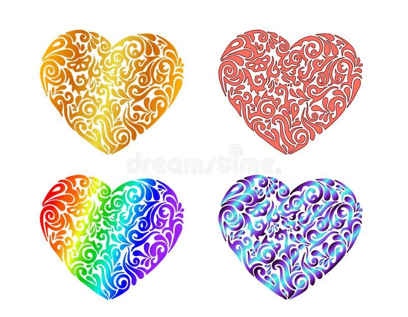 Placez de quatre coeurs tribals tirés par la main colorés différents de tatouage Illustration de vecteur illustration stock
