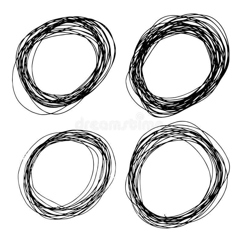Placez de quatre formes tirées par la main d'ellipse de croquis illustration stock